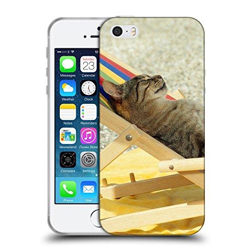 Just Phone Cases Coque de Protection TPU Silicone Case pour // V00004214 chat soleil dans le lit de soleil // Apple iPhone 5 5S 5G SE