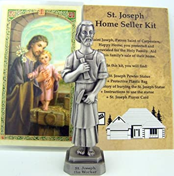 Quality Pewter St Joseph Statue Home Seller Selling Kit Saint Figurine Instruction and Prayers