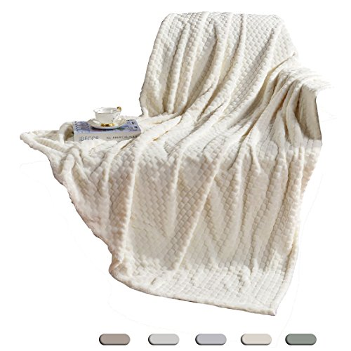 Traditional Sofas Chairs (Decosy Ultra Soft Ivory White Velvet Plush Throw Blanket 50