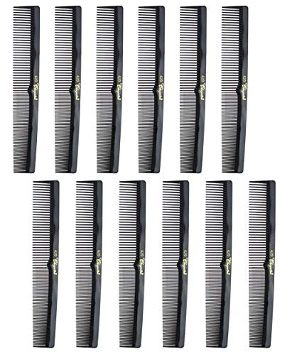 "Barber Cleopatra 420 7"" Flat Square Back Hair Comb (12 Pack) 12 x SB-C420-BLK"