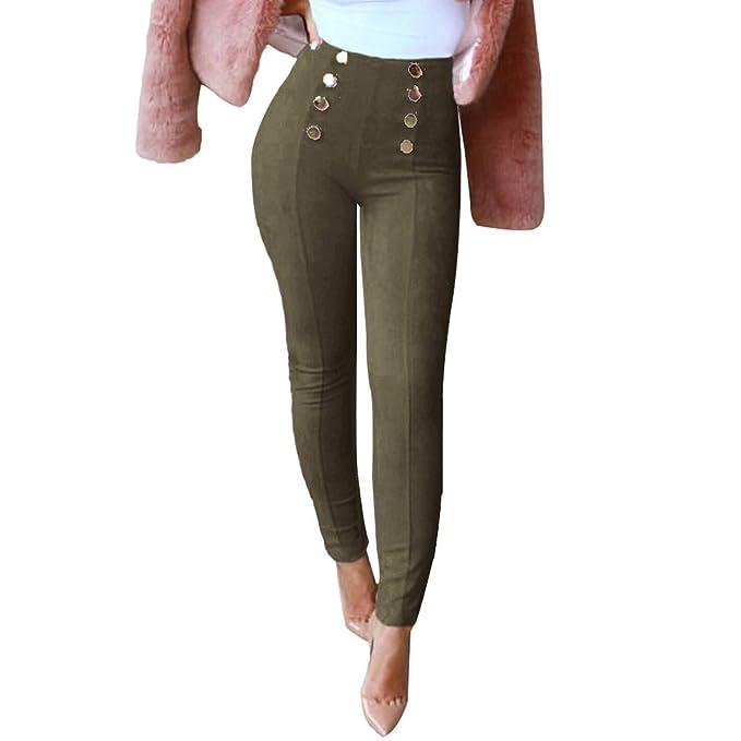 fc827a66100 Leggings de Mujer - Pantalones Slim Fit Cintura Alta Sexy Color Sólido  Pantalón - Flacos Casuales