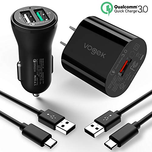 Phone Charger Kit - Fast Charger Kit for Samsung S8, Powerful Quick Charge 3.0 Charger Kit, Car Charger+Wall Charger+Type-C Cable Compatible with Samsung Galaxy S9/S9 Plus/Note 8/S8/S8 Plus, LG