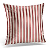 Emvency Throw Pillow Cover Classic Ticking Stripe Pattern Red and Cream Decorative Pillow Case Striped Home Decor Square 18 x 18 Inch Cushion Pillowcase