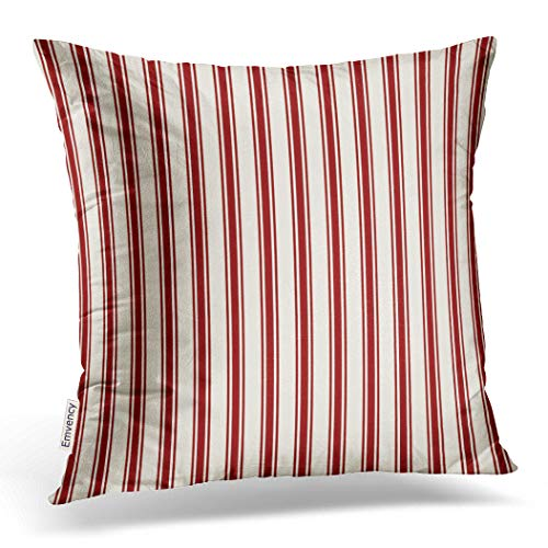 Emvency Throw Pillow Cover Classic Ticking Stripe Pattern Red and Cream Decorative Pillow Case Striped Home Decor Square 18 x 18 Inch Cushion Pillowcase ()