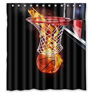 Generic Personalized Fire Basketball Special Effect Sports Series Shower Curtain Bath Decor Curtain 66