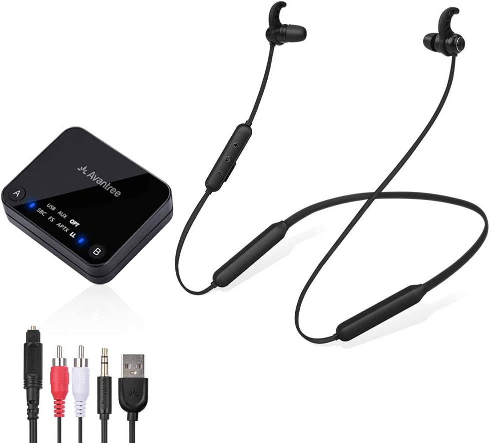 Avantree HT4186 Bluetooth Auriculares Inalámbricos para TV, PC con Transmisor, para Audio ÓPTICO Digital, RCA, AUX 3.5mm, USB de PC, Plug & Play, sin retardo y Largo Alcance