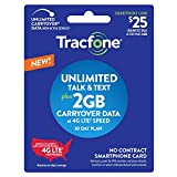 Wireless : New Tracfone $25 Unlimited Talk, Text, 2GB Data - 30 Day Smartphone Plan