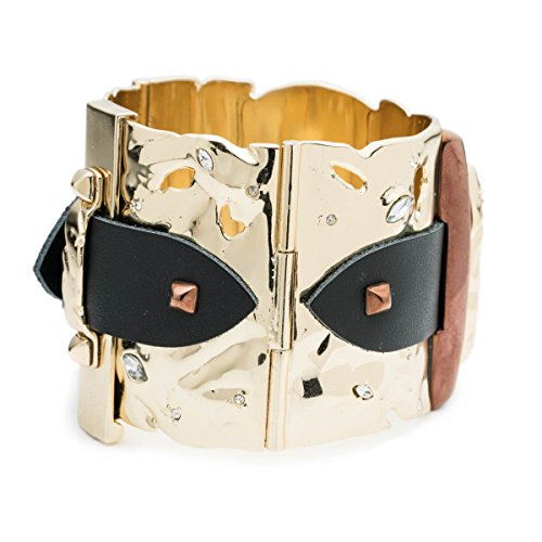 Alexis Bittar Large Hinge Bracelet Buckle Cuff Bracelet W/Leather Detail & Swarovski Crystal Accent by Alexis Bittar (Image #2)