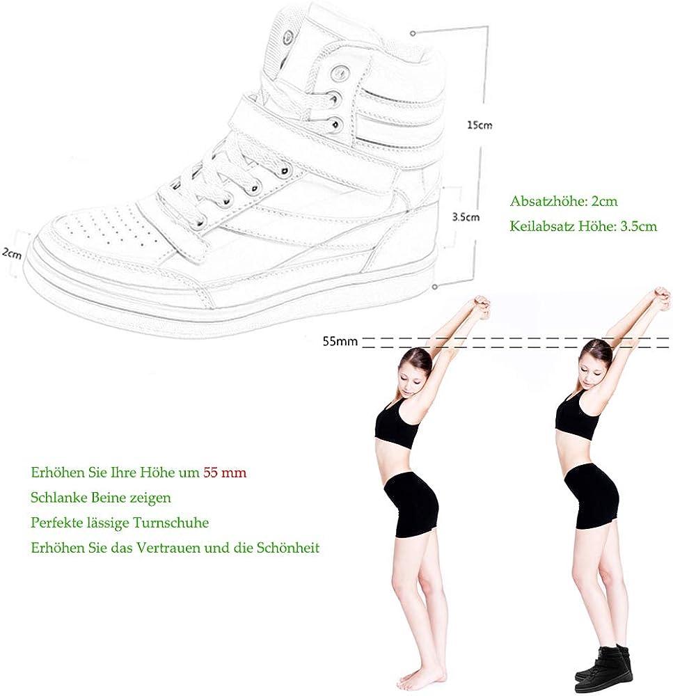 Bainasiqi Femmes Baskets Compensées Montante Chaussures Casual Wedge Sneakers Sport De Course Cuir Respirant Noir 01