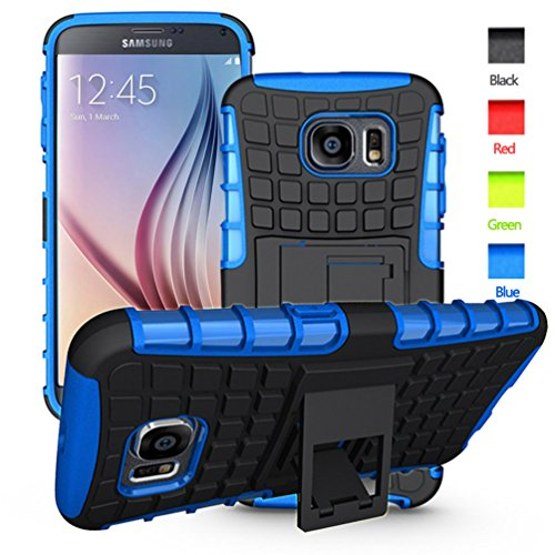 S6 case,Galaxy S6 Case,S6 2 In 1 Plastic and TPU Hybrid Rubber Strong Hard Back Heavy Duty Shockproof Protective Armor Cover Case with Stand for Mens Samsung Galaxy S 6 - Blue