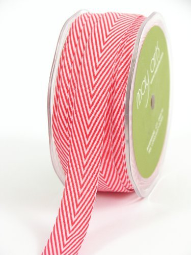 - May Arts 3/4-Inch Wide Ribbon, Red Twill with Chevron Stripes by May Arts