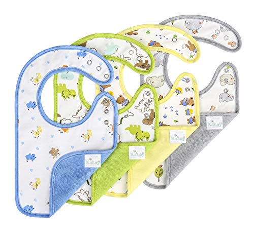 KāLaÿ 3-Layers Waterproof Baby Bib, Reversible, 3-Adjustable Snaps, Large, 4 Packs ()