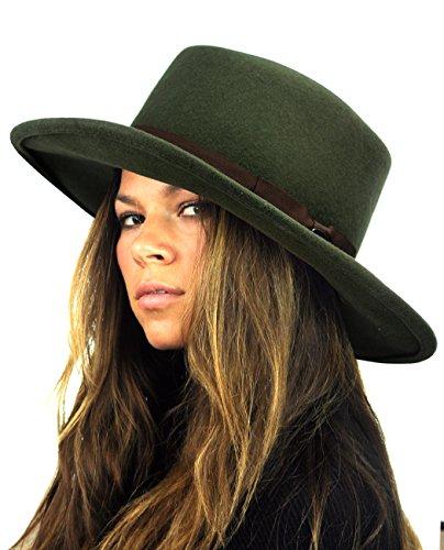 NYFASHION101 Wool Wide Brim Porkpie Fedora Hat w/ Simple Band Accent - Moss