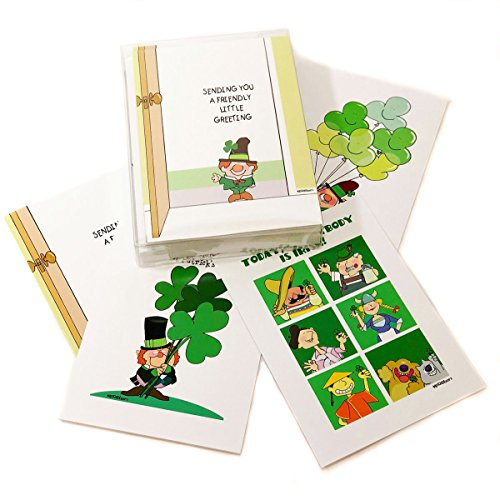 St Patrick's Day Assorted Card Pack - 16 St Patrick's Day Cards & Envelopes - Boxed Set of 5x7 Greeting Cards