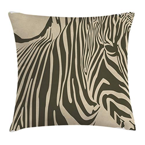 - Lunarable Zebra Print Throw Pillow Cushion Cover, Zebra Silhouette Stripped African Horse Monochrome Zoo Safari Creature, Decorative Square Accent Pillow Case, 16 X 16 Inches, Tan Dark Army Green