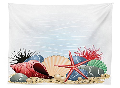 vipsung Pearls Decoration Tablecloth Seashells Starfish and Coral underwater Life Summertime Seaside Illustration Rectangular Table Cover for Dining Room Kitchen Red Beige Gray (Pearl 30h)