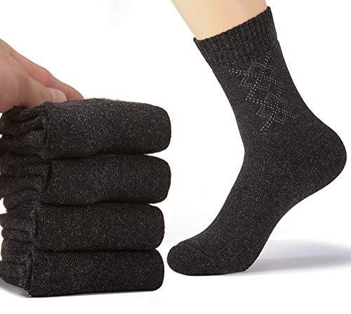 (Pack of 4 Winter Wool Socks Mens Warm Thick Wool Socks High Crew Socks Sport Socks for)