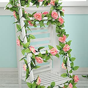 FYYDNZA 250Cm False Silk Roses Ivy Artificial Flowers With Green Leaves For Home Wedding Decoration Hanging Garland 2