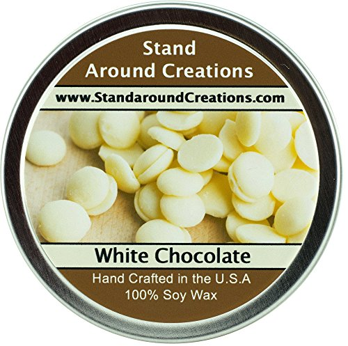 - Premium 100% All Natural Soy Wax Aromatherapy Candle - 4oz Tin - White Chocolate: The aroma of creamy cocoa butter, marshmallow, meringue, white chocolate, and vanilla beans.