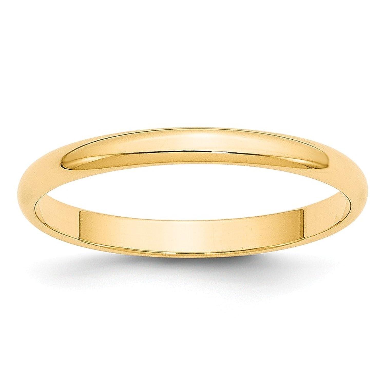14k Yellow Gold 2.5mm LTW Half Round Mens Womens Wedding Anniversary Band Size 6