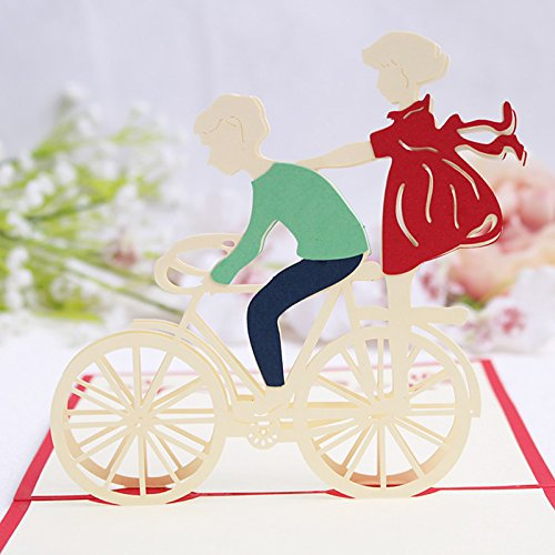 Popup Greeting Card 3D Handmade Bicycle Lovers Design For Boyfriend Girlfriend's Birthday Gift Anniversary Cards With Mailable Envolope For Husband Wife Valentine's Day Greeting Card Christmas Gifts ()