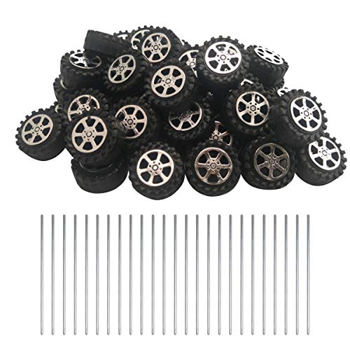Plastic Wheels Toy - EUDAX 50pcs Plastic Roll 2mm Dia Shaft Toys Wheel and 25Pcs STEM Shaft Round Rod Axles for DIY Toy RC Car Truck Boat Helicopter Model Part