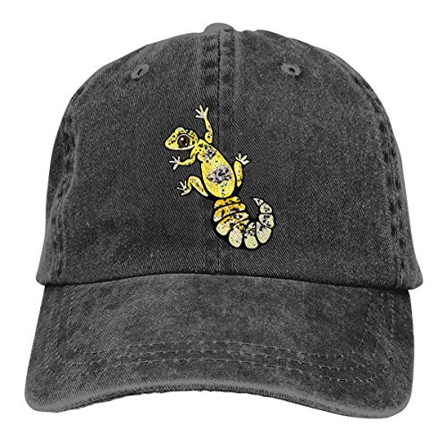 Unisex Yellow Leopard Gecko Vintage Chic Denim Adjustable Trucker Hats Baseball Cap Black (Gecko Sunshade)