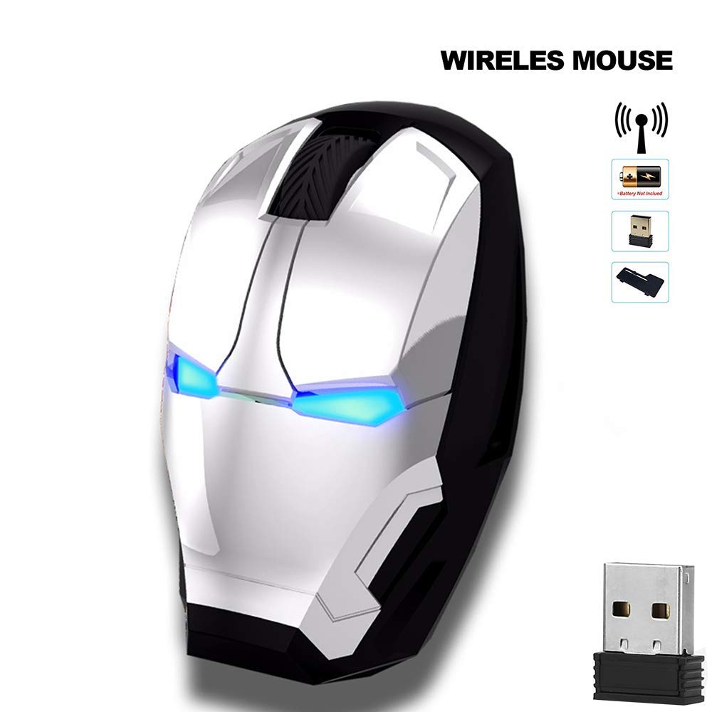 Silver Avengers Endgame Iron Man Mouse Wireless Mouse Ergonomic 2.4 G Portable Mobile Computer Click Silent Mouse Optical Mice with USB Receiver Gaming Mouse