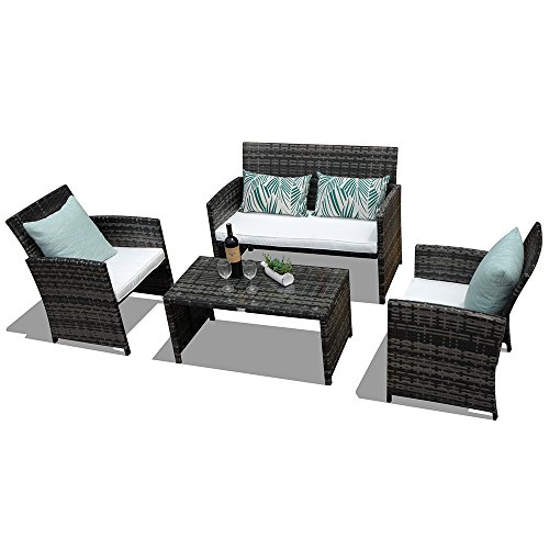 PATIOROMA Patio Conversation Set, 4pc Rattan Sectional Furniture Set with Cream White Seat Cushions, Outdoor PE Wicker, Gray -