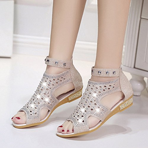 Sonnena Spring Summer Ladies Women Wedge Sandals Fashion Fish Mouth Hollow Roma Shoes Beige 0DOAo