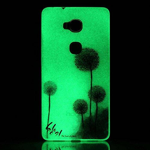 CaseHome Motorola Moto G4 Play Luminoso Funda (Con Gratis Pantalla Protector) Creativo Único Vistoso Patrón Impreso Diseño Fluorescente Efecto Verde Brillo Nocturno En la Oscuridad Ultra Delgado Trans Púrpura Dientes de León