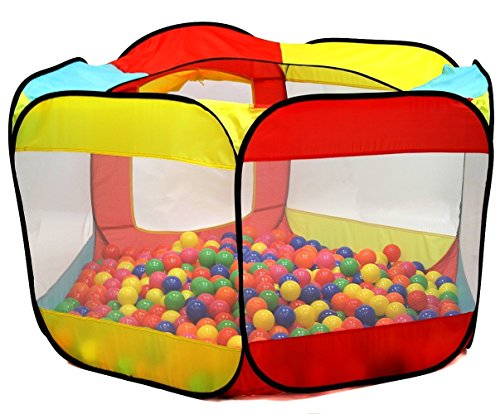 (Kiddey Ball Pit Play Tent for Kids - 6-Sided Ball Pit for Kids Toddlers and Baby - Fill with Plastic Balls (Balls Not Included) or Use As an Indoor / Outdoor Play Tent)