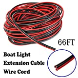Shangyuan Boat Light Extension Cable Wire Cord for 3528 5050 5630 Led Strip Light Single Color, 66ft 22Guage 2pin Wires for Pontoon Boat Kayak Stern Anchor Mast Courtesy Deck Running Rv Trailer Lights