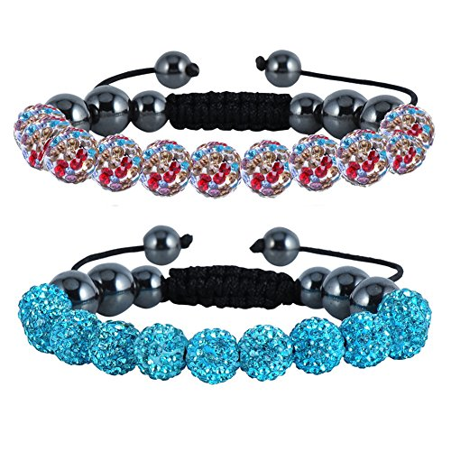 - Friendship Bracelets Colorful 10mm Disco Ball Bracelet Adjustable Bling Bangle Bracelet Friendship Bracelets Discoball Inspired Pave Bracelet for Easter (Cyan Colorful Beads)