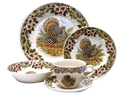 Churchill China Thanksgiving Turkey Multi Colors 20-Piece Dinnerware Set Service for 4  sc 1 st  Amazon.com & Amazon.com | Churchill China Thanksgiving Turkey Multi Colors 20 ...