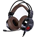 XIBERIA E1 USB Gaming Headset with Microphone,Over Ear Wired stereo Computer Headphones, Volume Control Enhanced Bass Noise Canceling Flexible Headband with LED for PC PS4 Laptop and Mac(Brown