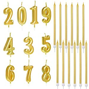 Amazon.com: 22 piezas de velas de cumpleaños, doradas ...