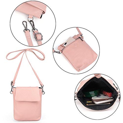 Crossbody Bag Detachable Women Shoulder Pu Rucksack Backpack Leather Purse Pink Uto Washed Ladies gqAwzz