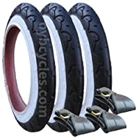 "Genuine Phil and Teds Dot Tyres plus Inner Tubes - Set of 3 (10"") Kenda"