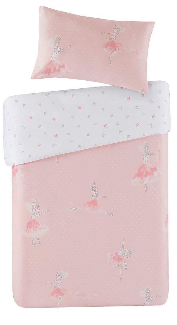 Amelia Reversible Printed Duvet Cover Set Cot Size - Pretty Pink Ballerinas Princess Motifs Design - 2 Pcs Ultra Soft Hypoallergenic 100% Cotton Children's Bedding SCM HOME