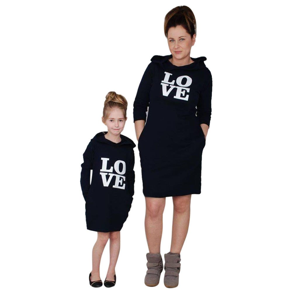 WensLTD Mommy and Me HoodieドレスLOVEレタープリントファミリMatching Outfit X-Large Black-Girls B077DRSV9F
