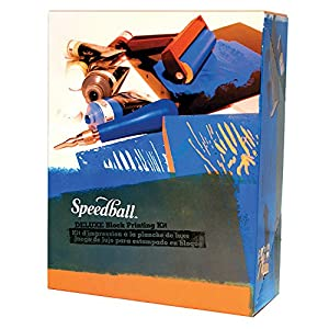 Speedball Deluxe Block Printing Kit - Includes Inks, Brayer, Bench Hook, Lino Handle and Cutters, Speedy-Carve Block, Mounted Linoleum Block