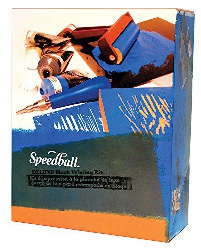 Speedball Deluxe Block Printing Kit - Includes Inks, Brayer, Bench Hook, Lino Handle and Cutters, Speedy-Carve Block, Mounted Linoleum Block