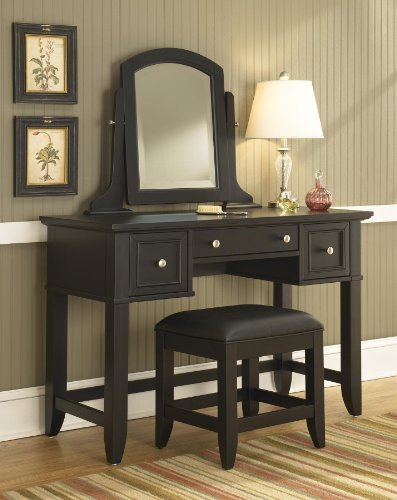 (Home Styles 5531-72 Bedford Vanity Table and Bench, Black Finish)