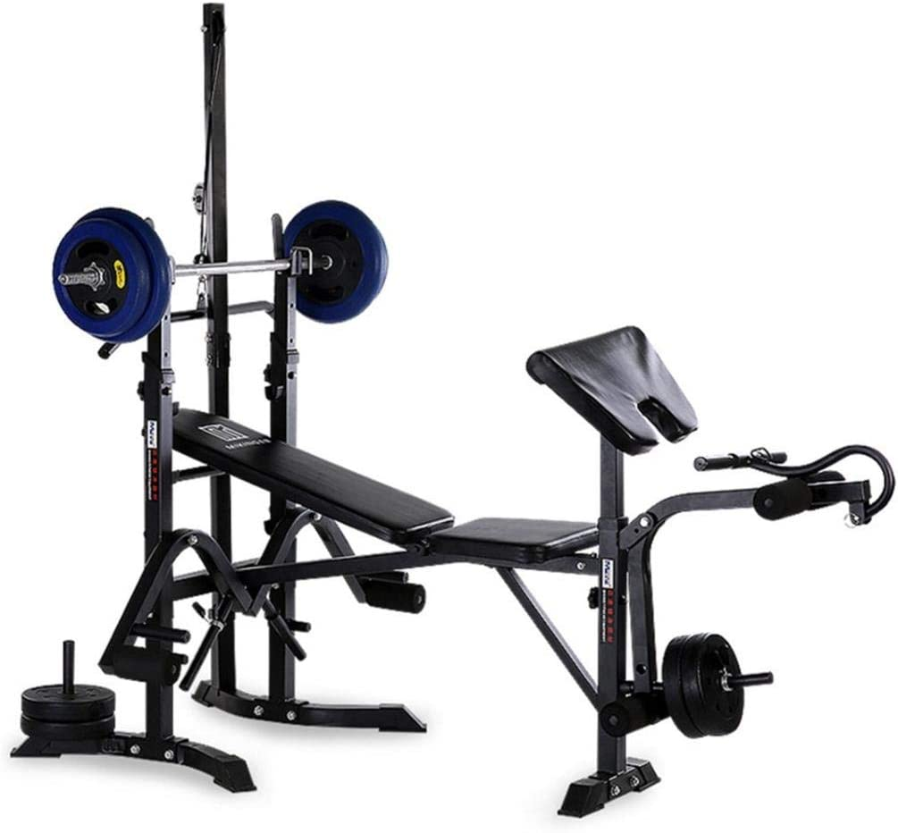 Qianglin All-in-One Adjustable Weight Bench Set,Olympic Weight Strength Training Benches,Heavy Duty Weight-Lifting Bed Weightlifting Machine Fitness Equipment for Home/Gym Full Body Exercise