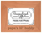 Personalized Gifts Grandpa Gift Papa's Lil' Buddy Grandson Natural Wood Engraved 4x6 Landscape
