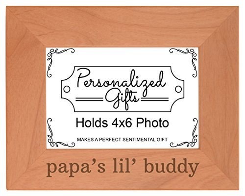 Personalized Gifts Grandpa Gift Papa's Lil' Buddy Grandson Natural Wood Engraved 4x6 Landscape Picture Frame Wood