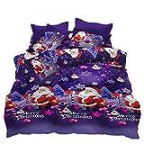 JessyHome Quilt Cover Queen Size,3D Printed Merry Christmas Santa Claus Duvet Cover Set,4 Pieces Bedding Comfort Set,1 Duvet Cover 1 Flat Sheet 2 Pillowcases