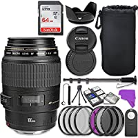 Canon EF 100mm f/2.8 Macro USM Lens Bundle with Accessory Kit (17 items)