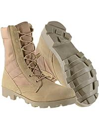 Ameritac Men's Side Zip Suede Leather Combat  Outdoor Desert Tan Boots, 9-Inch